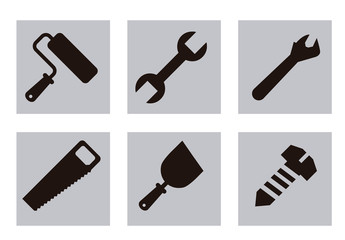 25 Square Grayscale Tool, Construction, and Painting Icons