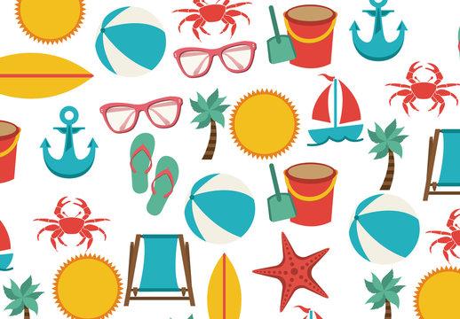 Beach Icons Pattern