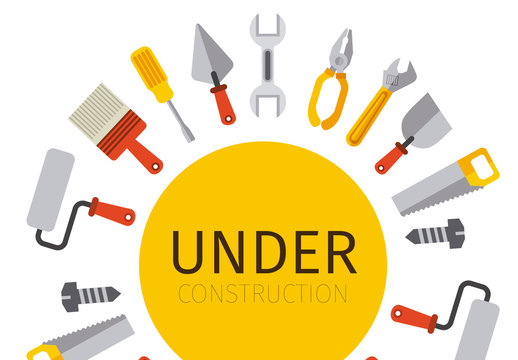 """Tool and Painting Icons Surrounding """"Under Construction"""" Circle"""