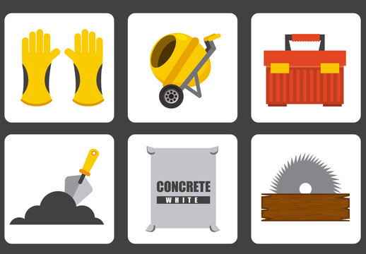 9 Square Construction and Tool Icons