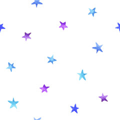 Seamless pattern blue and violet watercolor stars