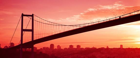 Bosphorus Bridge in Istanbul at sunset. Panorama
