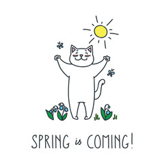 Spring is coming! Doodle vector illustration of funny white cat enjoying the spring