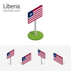 Liberian flag (Republic of Liberia), vector set of isometric flat icons, 3D style. African country flags. Editable design elements for banner, website, presentation, infographic, poster, map. Eps 10