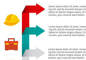 Construction Infographic with Arrow Element and Tool Icon Set 1