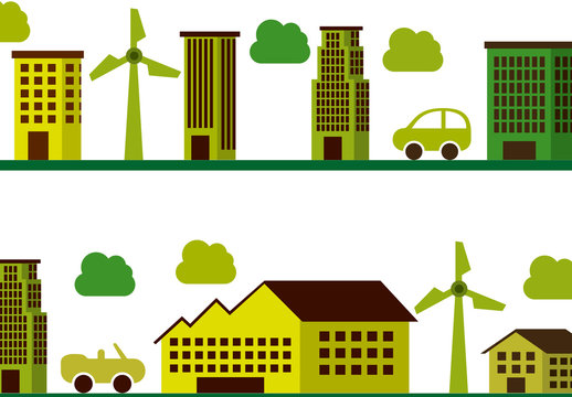 City and Suburb Illustration with Wind Turbines