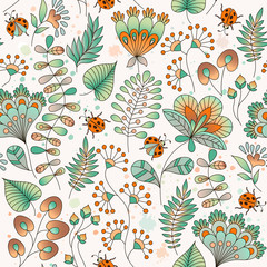 Seamless floral colorful vector pattern