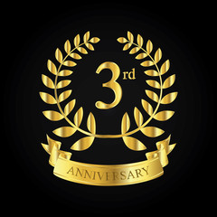 3rd golden anniversary logo, first celebration with ribbon
