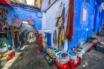 Foto op Aluminium Marokko Color image of a street inthe famous blue town Chefchaouen, Morocco.