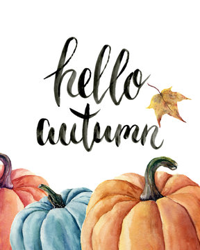 Watercolor hello autumn lettering with pumpkin and leaf. Hand painted orange and blue vegetables isolated on white background. Autumn pumpkin print for design
