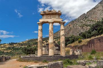 Amazing view Athena Pronaia Sanctuary at Ancient Greek archaeological site of Delphi, Central Greece