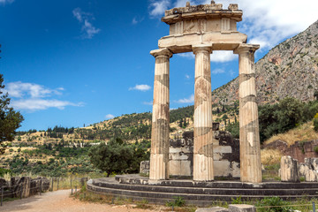 Athena Pronaia Sanctuary at Ancient Greek archaeological site of Delphi, Central Greece