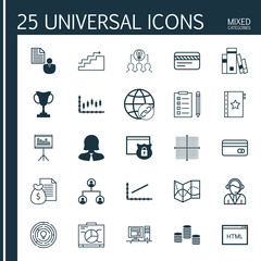 Set Of 25 Universal Editable Icons For Management, Hr And Project Management Topics. Includes Icons Such As Security, Innovation, Report And More.
