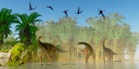 Spinophorosaurus Dinosaurs Swamp - A flock of Dorygnathus reptiles fly over a herd of Spinophorosaurus sauropod dinosaurs in a Jurassic swamp.