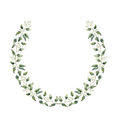 Watercolor floral wreath with eucalyptus leaves. Hand painted floral wreath with branches, leaves of eucalyptus isolated on white background. For design or background