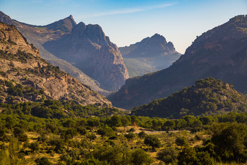 Gorgeous hills view on the valley in Spain near Caminito Del Rey