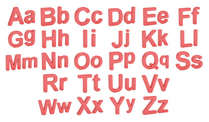 Red alphabet, large and small  letters, 3D rendering