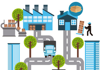 Freight and Shipping Vector Illustration 2