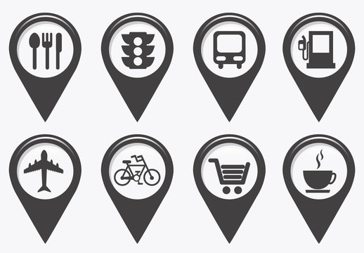 20 Grayscale GPS and Map Locator Icons with Pictograms Inset