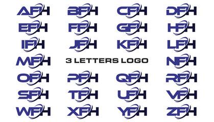 3 letters modern generic swoosh logo AFH, BFH, CFH, DFH, EFH, FFH, GFH, HFH, IFH, JFH, KFH, LFH, MFH, NFH, OFH, PFH, QFH, RFH, SFH, TFH, UFH, VFH, WFH, XFH, YFH, ZFH