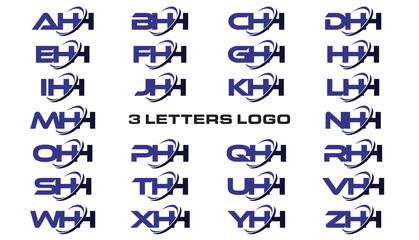3 letters modern generic swoosh logo AHH, BHH, CHH, DHH, EHH, FHH, GHH, HHH, IHH, JHH, KHH, LHH, MHH, NHH, OHH, PHH, QHH, RHH, SHH, THH, UHH, VHH, WHH, XHH, YHH, ZHH