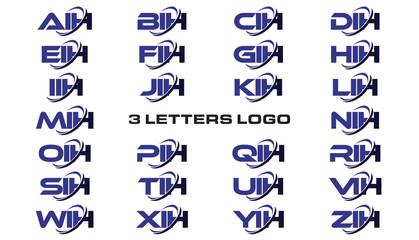 3 letters modern generic swoosh logo AIH, BIH, CIH, DIH, EIH, FIH, GIH, HIH, IIH, JIH, KIH, LIH, MIH, NIH, OIH, PIH, QIH, RIH, SIH, TIH, UIH, VIH, WIH, XIH, YIH, ZIH