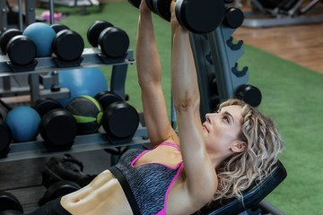 Beautiful woman lifting dumbbells