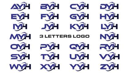 3 letters modern generic swoosh logo AYH, BYH, CYH, DYH, EYH, FYH, GYH, HYH, IYH, JYH, KYH, LYH, MYH, NYH, OYH, PYH, QYH, RYH, SYH, TYH, UYH, VYH, WYH, XYH, YYH, ZYH