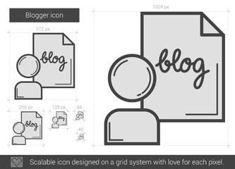 Blogger line icon.