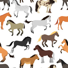Horse vector isolated seamless pattern.