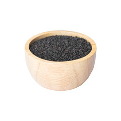 black sesame in wooden bowl on white background