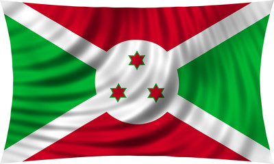 Flag of Burundi waving isolated on white
