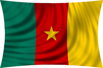 Flag of Cameroon waving isolated on white