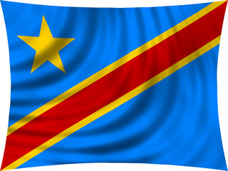 Flag of DR Congo waving isolated on white
