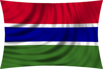 Flag of the Gambia waving isolated on white