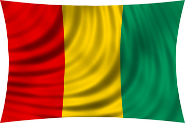 Flag of Guinea waving isolated on white