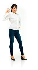 Model in studio isolated on white background full length