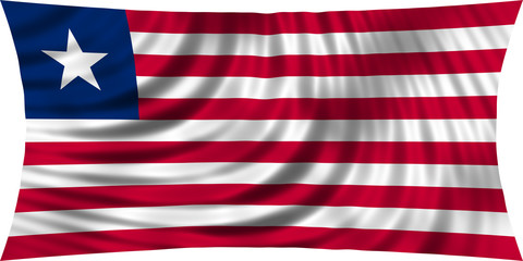 Flag of Liberia waving isolated on white