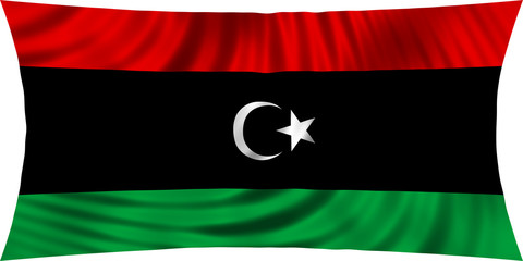Flag of Libya waving isolated on white