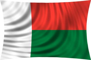 Flag of Madagascar waving isolated on white