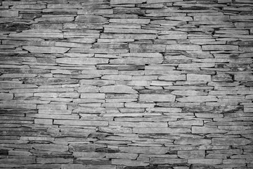 Stones art wall close up.(Processed in monochrome colour tone)