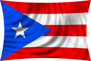 Flag of Puerto Rico waving isolated on white
