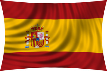 Flag of Spain waving isolated on white