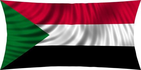 Flag of Sudan waving isolated on white