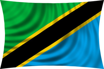 Flag of Tanzania waving isolated on white
