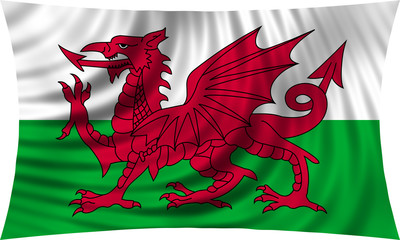 Flag of Wales waving isolated on white