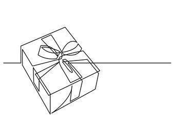 continuous line drawing of Christmas present