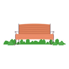 bench wooden chair comfortable park seat decoration vector illustration