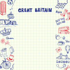 Great Britain national symbols. English cultural, historical, architectural, traditions related doodles drawn on sides of squared paper sheet with copy space vector illustration. Pen sketched icons