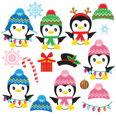 Cute penguin vector cartoon illustration
